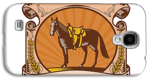 Horse Western Saddle Scroll Woodcut Galaxy S4 Case