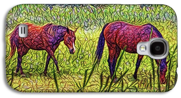 Horses In Tranquil Field Galaxy S4 Case