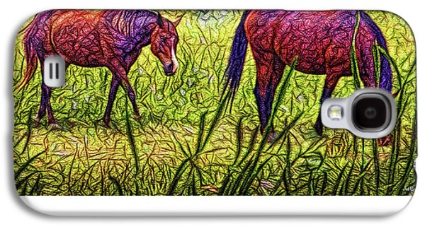 Horses In Tranquil Field Galaxy S4 Case by Joel Bruce Wallach