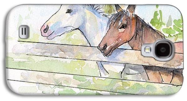 Horses Watercolor Sketch Galaxy S4 Case by Olga Shvartsur