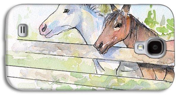 Horse Galaxy S4 Case - Horses Watercolor Sketch by Olga Shvartsur