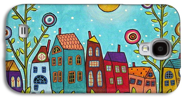 Folk Art Mixed Media Galaxy S4 Cases - Houses Blooms And A Moon Galaxy S4 Case by Karla Gerard