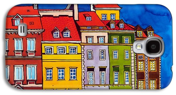 Galaxy S4 Case featuring the painting Houses In The Oldtown Of Warsaw by Dora Hathazi Mendes