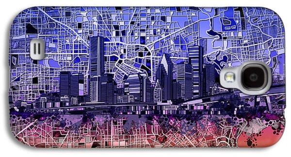 Houston Skyline Map 12 Galaxy S4 Case