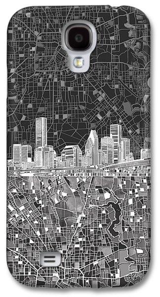 Houston Skyline Map Black And White Galaxy S4 Case by Bekim Art