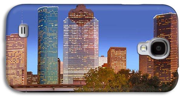 City Sunset Galaxy S4 Case - Houston Texas Skyline At Dusk by Jon Holiday