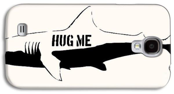 Hug Me Shark - Black  Galaxy S4 Case by Pixel  Chimp