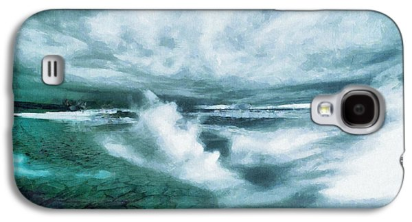 Huge Waves And Stormy Sea Art Painting Galaxy S4 Case