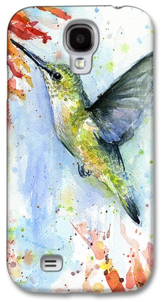 Hummingbird And Red Flower Watercolor Galaxy S4 Case by Olga Shvartsur