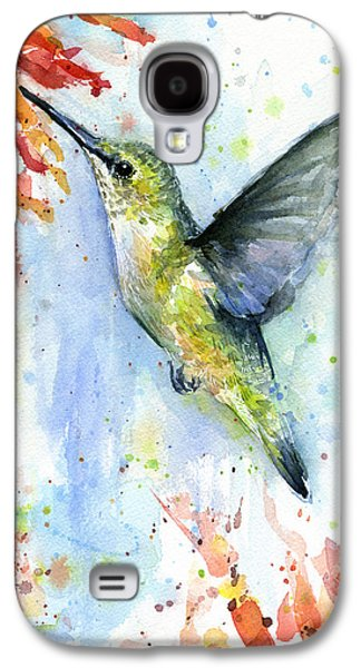 Hummingbird And Red Flower Watercolor Galaxy S4 Case