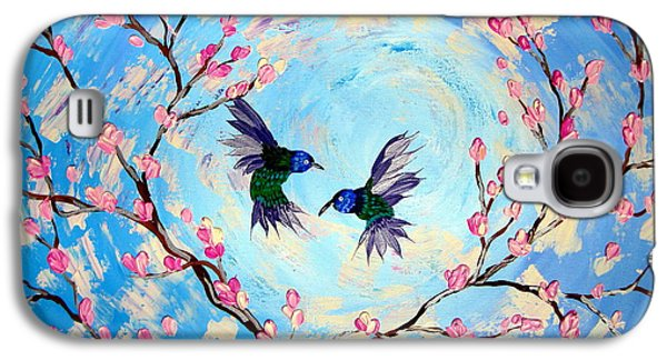 Hummingbirds In Cherry Blossom Galaxy S4 Case by Cathy Jacobs