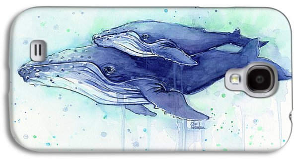 Humpback Whale Mom And Baby Watercolor Galaxy S4 Case by Olga Shvartsur