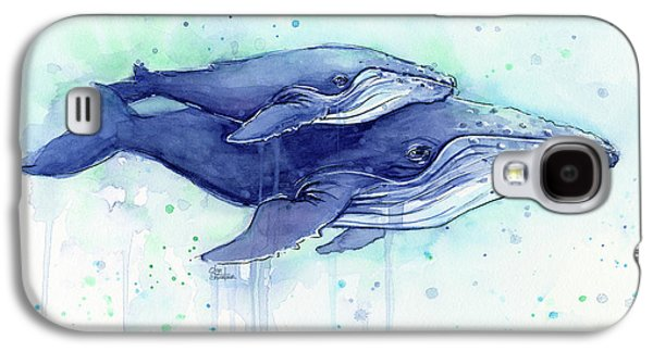 Whale Galaxy S4 Case - Humpback Whales Mom And Baby Watercolor Painting - Facing Right by Olga Shvartsur