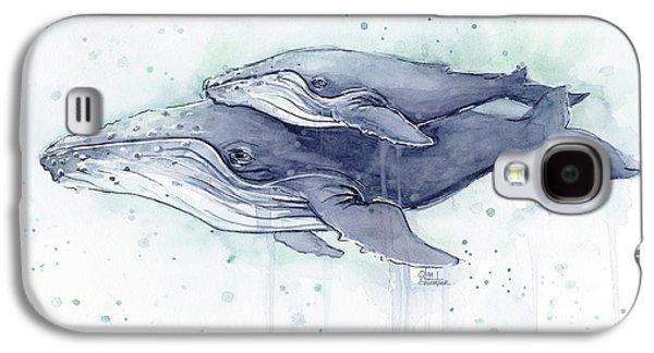 Humpback Whales Painting Watercolor - Grayish Version Galaxy S4 Case by Olga Shvartsur