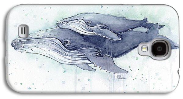 Whale Galaxy S4 Case - Humpback Whales Painting Watercolor - Grayish Version by Olga Shvartsur