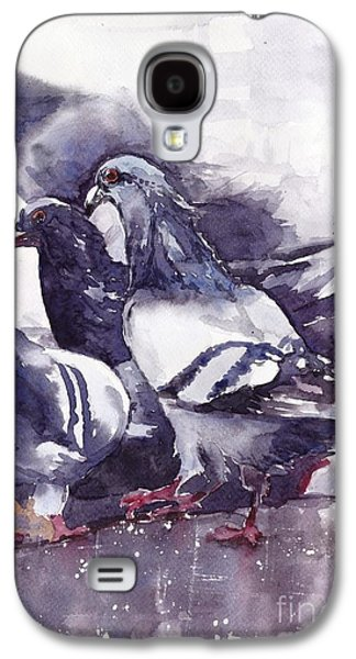 Dove Galaxy S4 Case - Hungry Pigeons Watercolor by Suzann's Art
