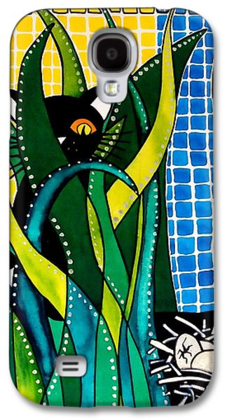 Galaxy S4 Case featuring the painting Hunter In Camouflage - Cat Art By Dora Hathazi Mendes by Dora Hathazi Mendes