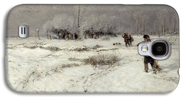Hunting In The Snow Galaxy S4 Case by Hugo Muhlig