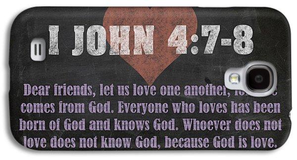 I John 4 7-8 Inspirational Quote Bible Verses On Chalkboard Art Galaxy S4 Case