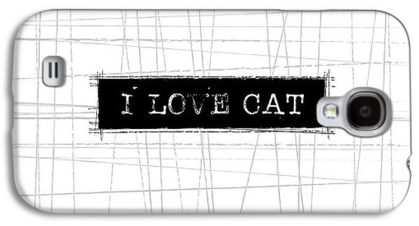 Cat Galaxy S4 Case - I Love Cat Word Art by Kathleen Wong
