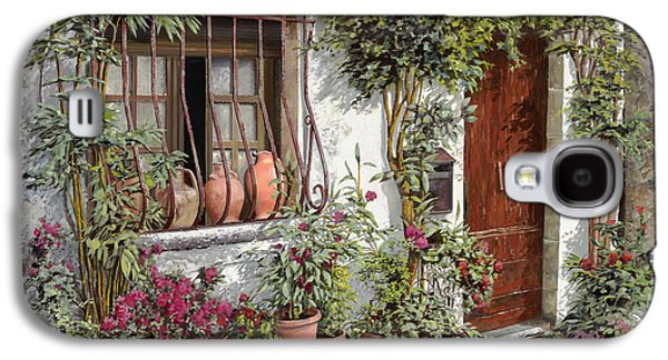Stones Paintings Galaxy S4 Cases - I Vasi Dietro La Grata Galaxy S4 Case by Guido Borelli