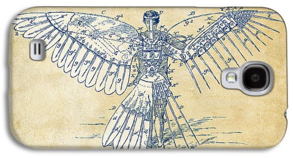 Icarus Human Flight Patent Artwork - Vintage Galaxy S4 Case by Nikki Smith