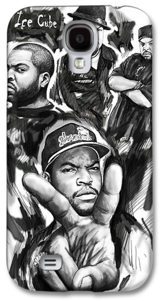 Ice Cube Blackwhite Group Art Drawing Poster Galaxy S4 Case by Kim Wang