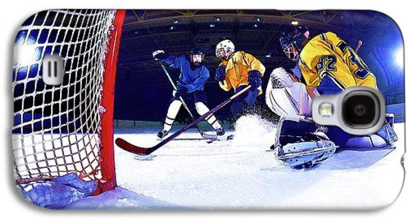 Ice Hockey Battle Through The Cage Galaxy S4 Case by Elaine Plesser