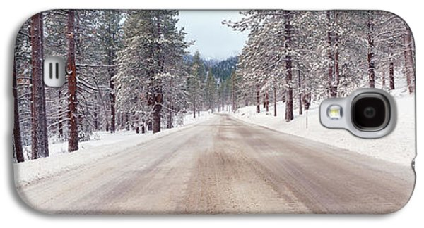 Icy Road And Snowy Forest, California Galaxy S4 Case