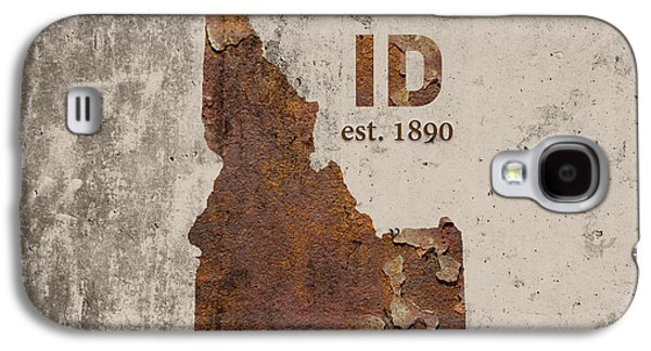 Idaho State Map Industrial Rusted Metal On Cement Wall With Founding Date Series 045 Galaxy S4 Case by Design Turnpike