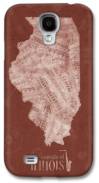 Illinois Map Music Notes 5 Galaxy S4 Case