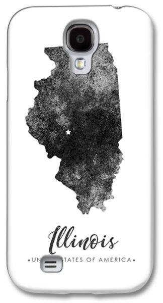 Illinois State Map Art - Grunge Silhouette Galaxy S4 Case