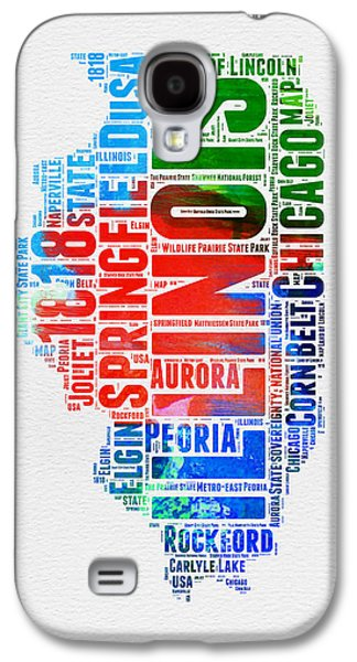 Illinois Watercolor Word Cloud Map  Galaxy S4 Case by Naxart Studio