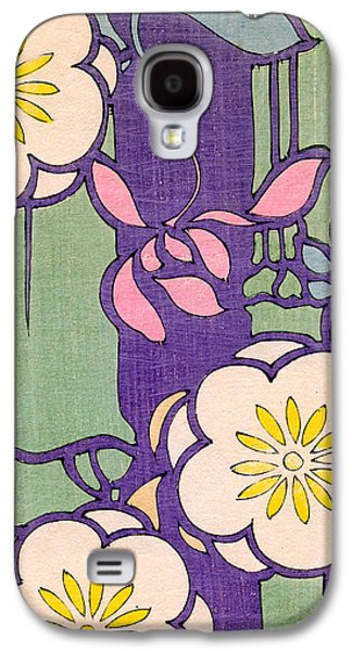 Illustration Of Flower Blossoms On A Lavender And Green Background Galaxy S4 Case by Unknown