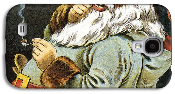 Illustration Of Santa Claus Smoking A Pipe Galaxy S4 Case by American School