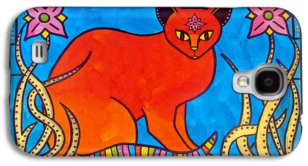 Galaxy S4 Case featuring the painting Indian Cat With Lilies by Dora Hathazi Mendes