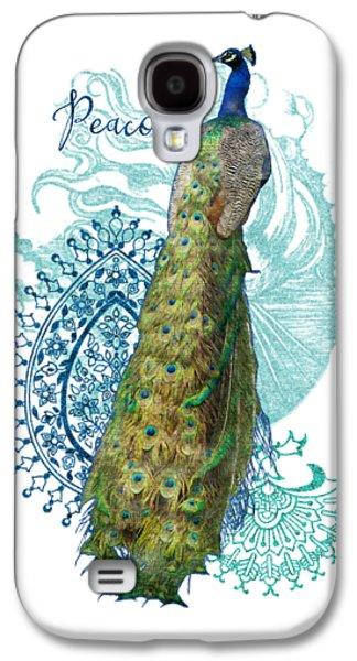 Indian Peacock Henna Design Paisley Swirls Galaxy S4 Case