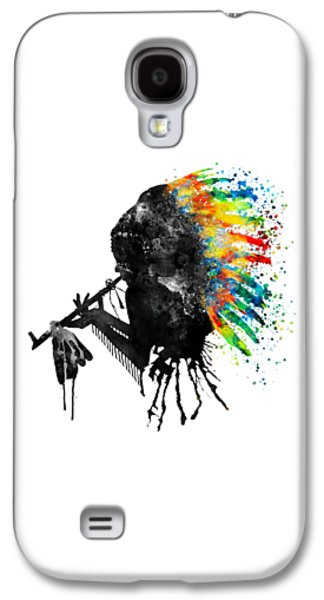Indian Silhouette With Colorful Headdress Galaxy S4 Case