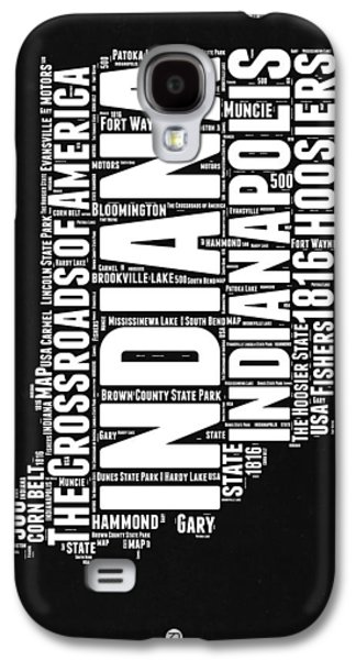 Indiana Black And White Word Cloud Map Galaxy S4 Case by Naxart Studio