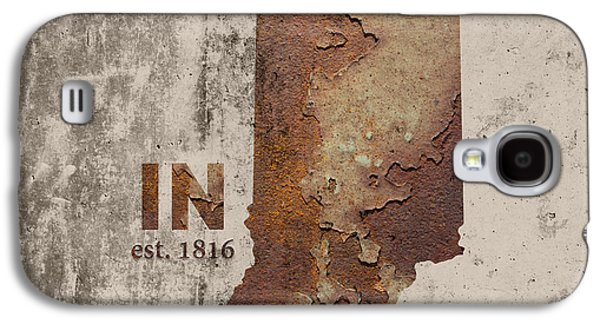 Indiana State Map Industrial Rusted Metal On Cement Wall With Founding Date Series 032 Galaxy S4 Case by Design Turnpike
