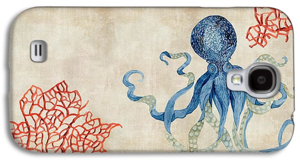 Indigo Ocean - Octopus Floating Amid Red Fan Coral Galaxy S4 Case by Audrey Jeanne Roberts