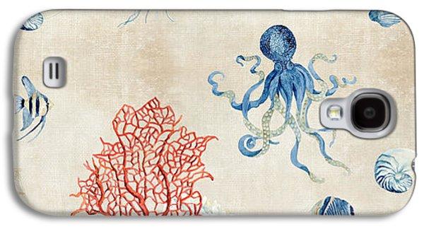 Indigo Ocean - Red Coral Octopus Half Drop Pattern Galaxy S4 Case by Audrey Jeanne Roberts