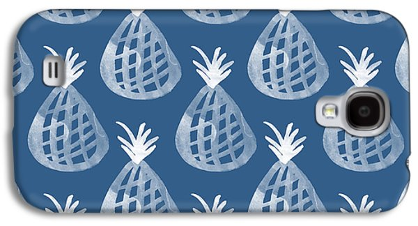 Indigo Pineapple Party Galaxy S4 Case by Linda Woods