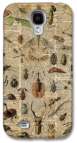 Insects Bugs Flies Vintage Illustration Dictionary Art Galaxy S4 Case by Jacob Kuch