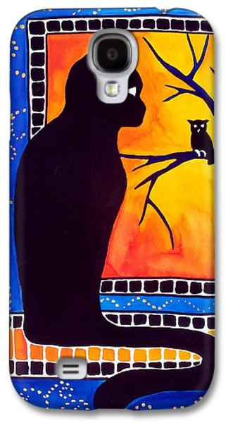 Galaxy S4 Case featuring the painting Insomnia - Cat And Owl Art By Dora Hathazi Mendes by Dora Hathazi Mendes