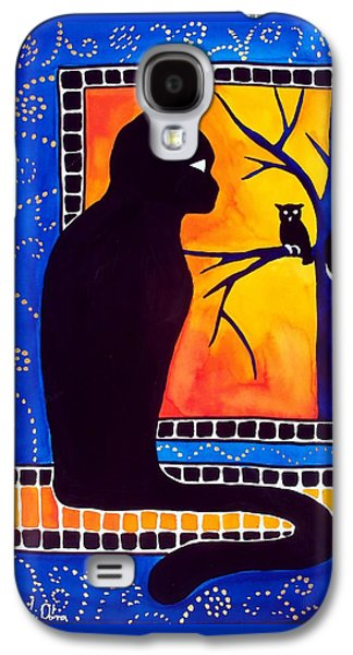 Insomnia - Cat And Owl Art By Dora Hathazi Mendes Galaxy S4 Case