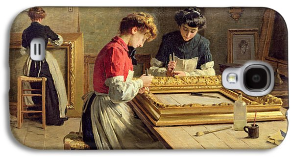 Interior Of A Frame Gilding Workshop Galaxy S4 Case by Louis Emile Adan