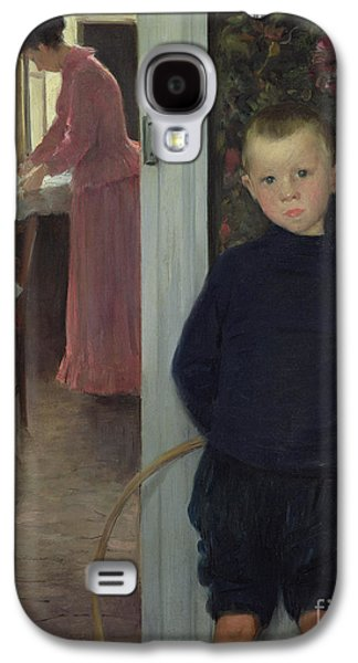 Interior With Women And A Child Galaxy S4 Case by Paul Mathey