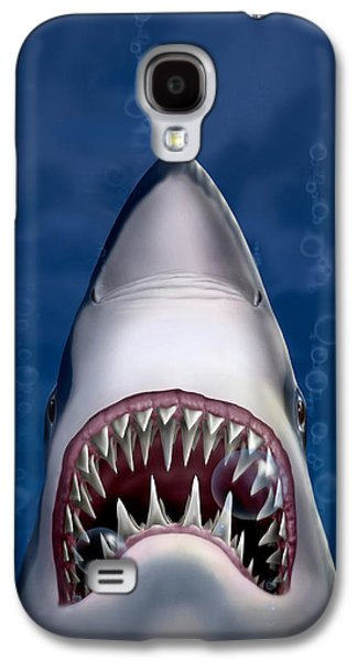 iPhone - Galaxy Case - Jaws Great White Shark Art Galaxy S4 Case by Walt Curlee