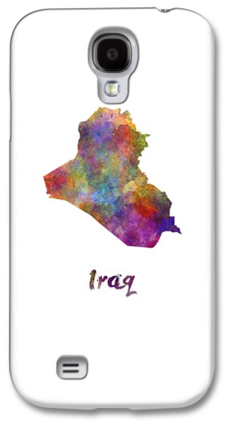 Iraq In Watercolor Galaxy S4 Case by Pablo Romero